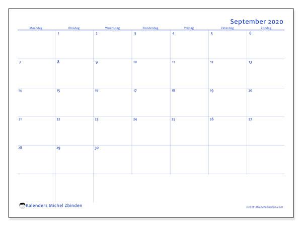 Kalender september 2020, 55MZ. Agenda om gratis te printen.