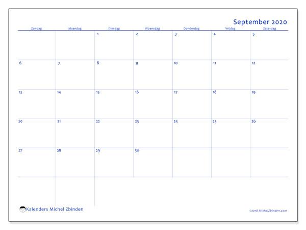 Kalender september 2020, 55ZZ. Kalender om gratis te printen.