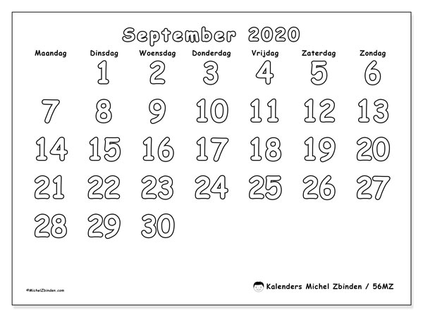 Kalender september 2020, 56MZ. Maandkalender om gratis te printen.
