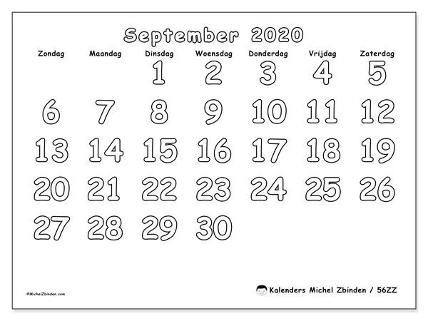 Kalender september 2020, 56ZZ. Gratis afdrukbare kalender.