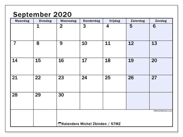 Kalender september 2020, 57MZ. Gratis printbare kalender.