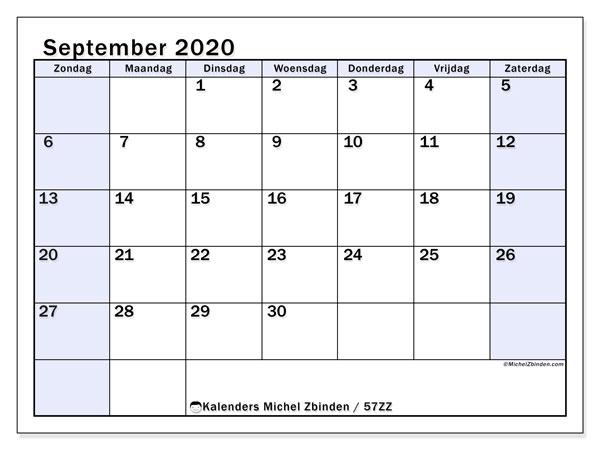 Kalender september 2020, 57ZZ. Gratis printbare kalender.
