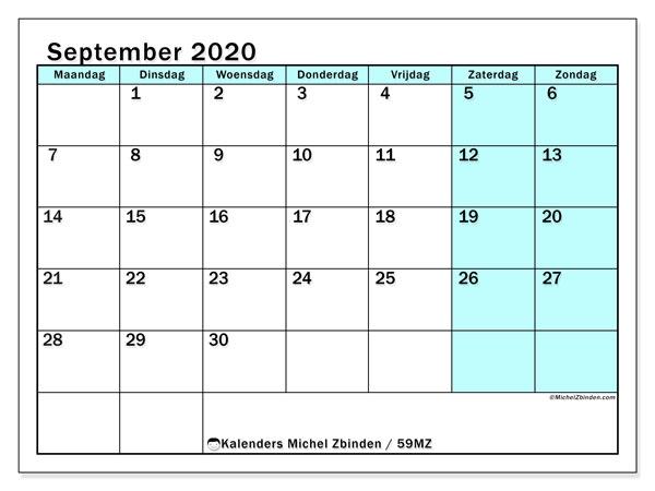 Kalender september 2020, 59MZ. Gratis kalender om af te drukken.