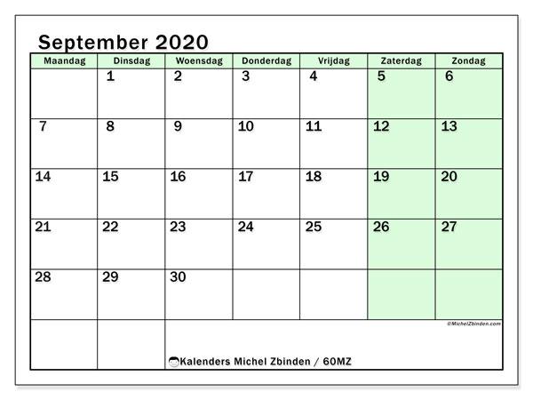 Kalender september 2020, 60MZ. Gratis printbare kalender.