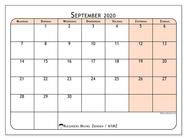 Kalender september 2020, 61MZ. Kalender om gratis te printen.