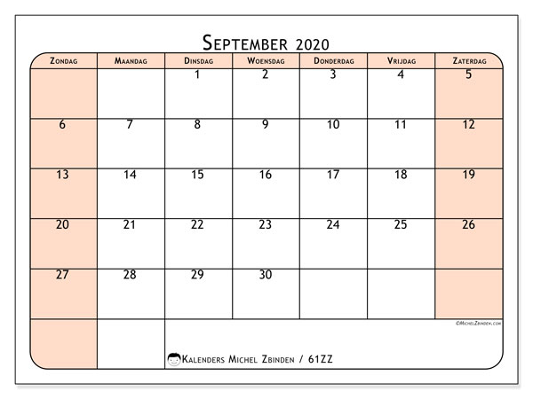Kalender september 2020, 61ZZ. Agenda om gratis te printen.