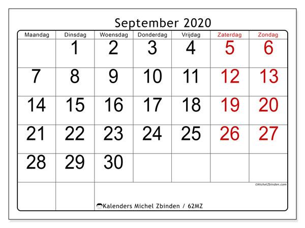 Kalender september 2020, 62MZ. Gratis kalender om af te drukken.