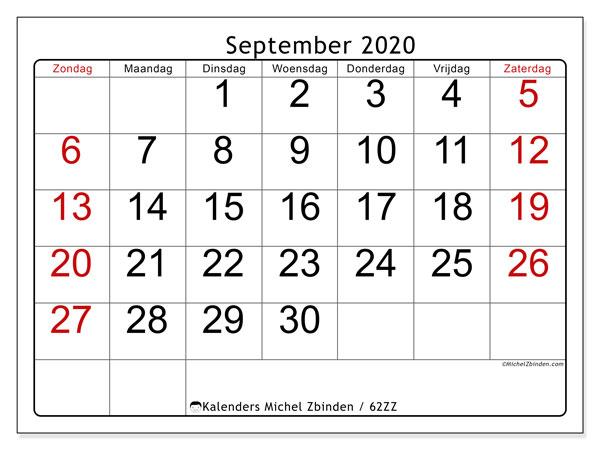 Kalender september 2020, 62ZZ. Kalender voor de maand die gratis moet worden afgedrukt.