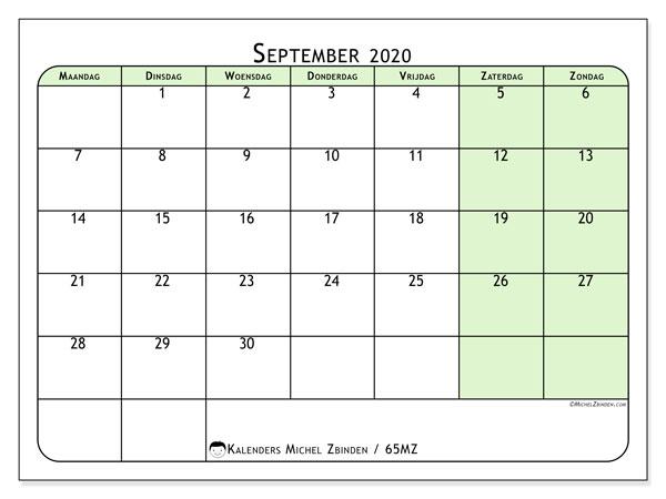 Kalender september 2020, 65MZ. Agenda om gratis te printen.