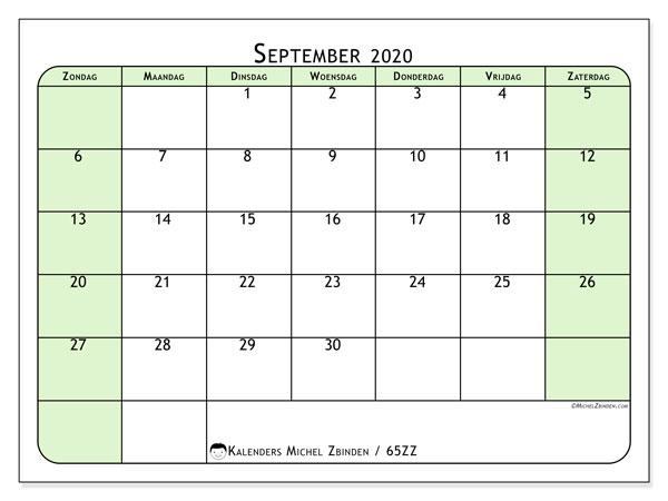Kalender september 2020, 65ZZ. Maandkalender om gratis te printen.