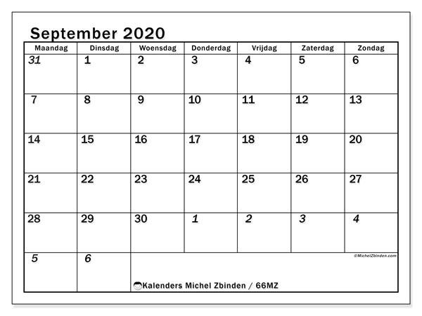 Kalender september 2020, 66MZ. Schema om gratis te printen.