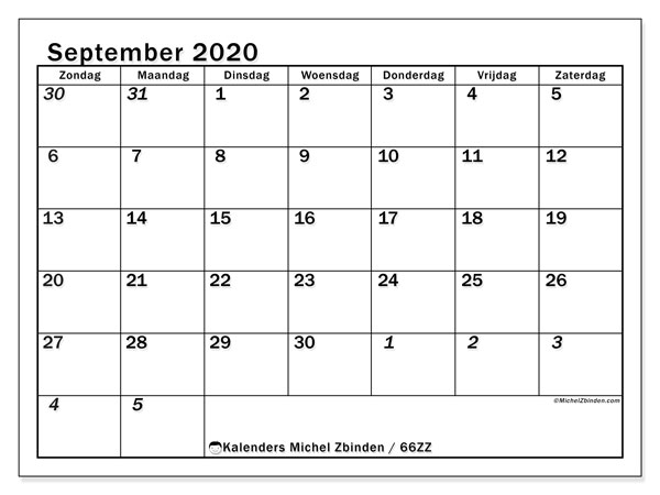 Kalender september 2020, 66ZZ. Gratis kalender om af te drukken.