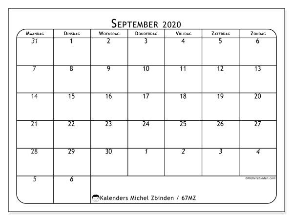 Kalender september 2020, 67MZ. Kalender om gratis te printen.