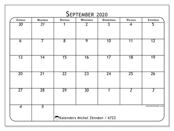Kalender september 2020, 67ZZ. Gratis printbare kalender.