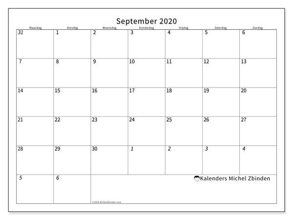 Kalender september 2020, 70MZ. Agenda om gratis te printen.