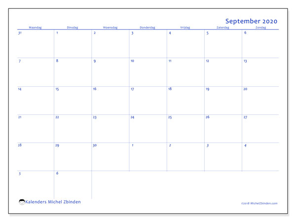 Kalender september 2020, 73MZ. Schema om gratis te printen.
