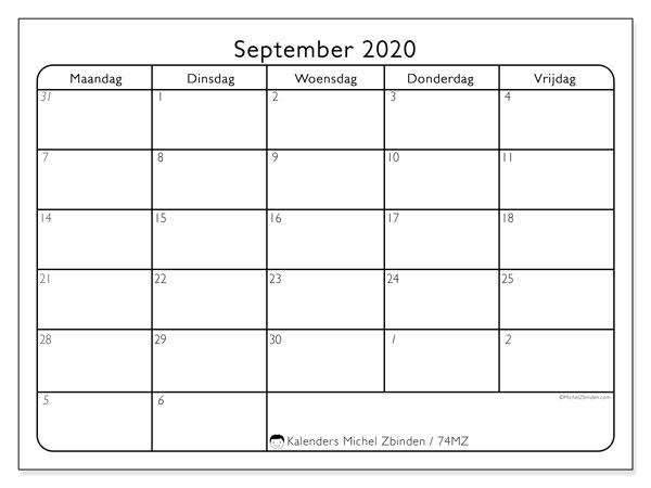 Kalender september 2020, 74MZ. Kalender om gratis te printen.