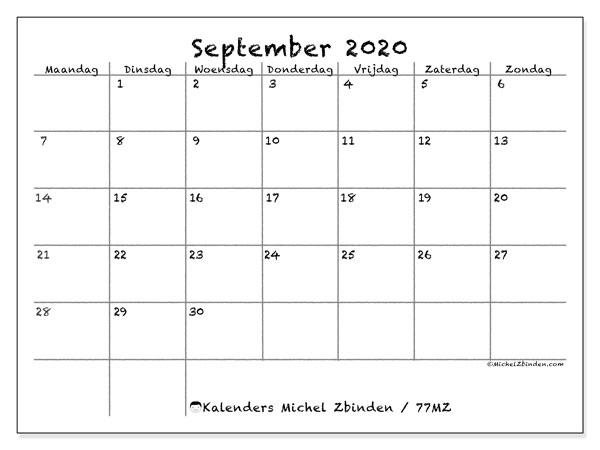 Kalender september 2020, 77MZ. Maandkalender om gratis te printen.