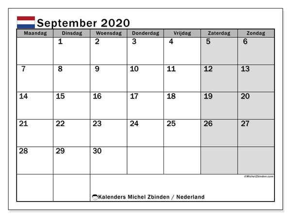 Kalender september 2020 met de feestdagen van Nederland. Gratis afdrukbare kalender.