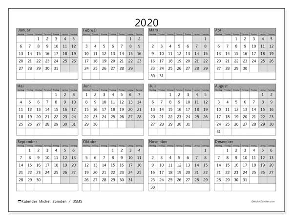 Kalender 2020, 35MS. .