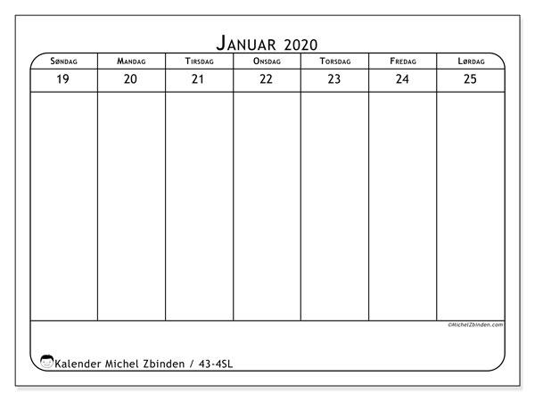 Kalender 2020, 43-4SL. Gratis tidsplan å trykke.