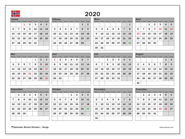 Kalender med helligdager 2020
