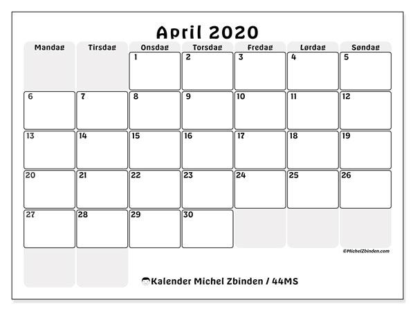 Kalender april 2020, 44MS. Gratis rutetabell å trykke.