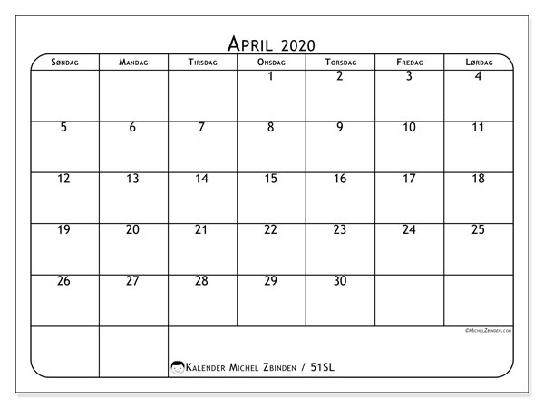 Kalender april 2020, 51SL. Gratis utskrivbar kalender.