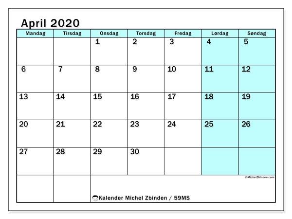 Kalender april 2020, 59MS. Gratis utskrivbar planlegger.