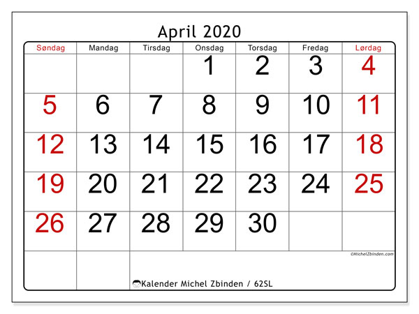 Kalender april 2020, 62SL. Gratis kalender å trykke.