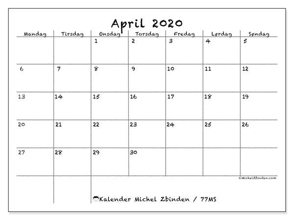 Kalender april 2020, 77MS. Kalender som skal skrives ut gratis.
