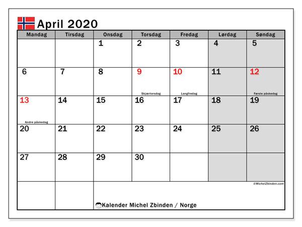 Kalender april 2020, med høytiden til Norge. Kalender for gratistrykk med helligdager.