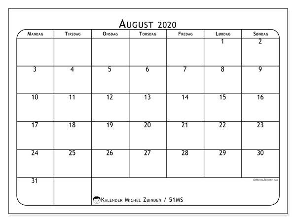 Kalender august 2020, 51MS. Gratis tidsplan å trykke.
