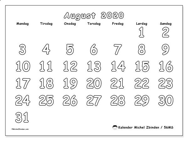 Kalender august 2020, 56MS. Månedskalender som skal skrives ut gratis..
