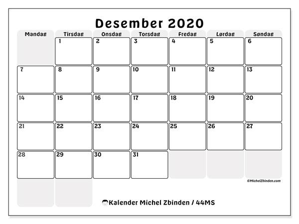 Kalender desember 2020, 44MS. Gratis rutetabell å trykke.