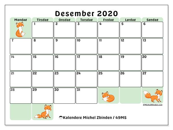 Kalender desember 2020, 49MS. Gratis tidsplan å trykke.
