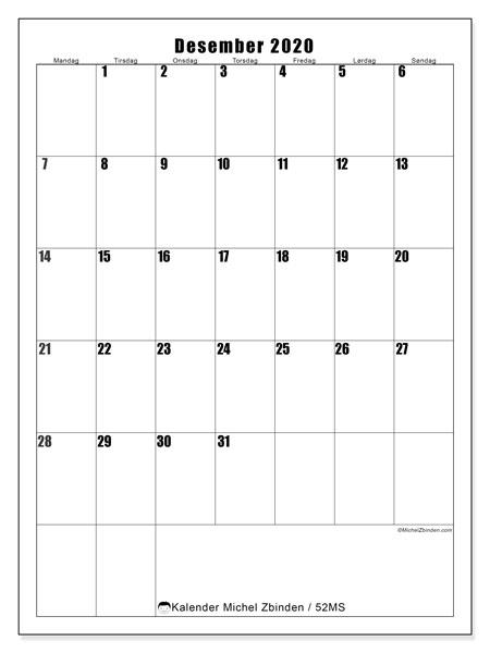 Kalender desember 2020, 52MS. Kalender som skal skrives ut gratis.