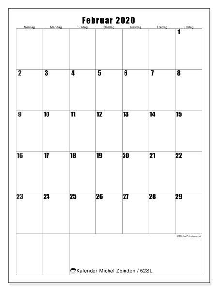 Kalender februar 2020, 52SL. Gratis utskrivbar planlegger.