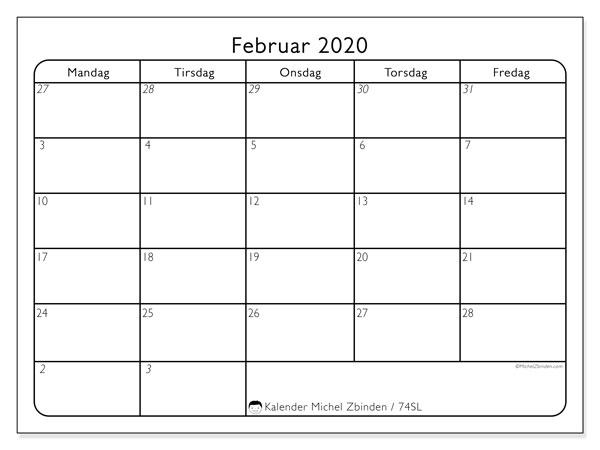 Kalender februar 2020, 74SL. Gratis tidsplan å trykke.