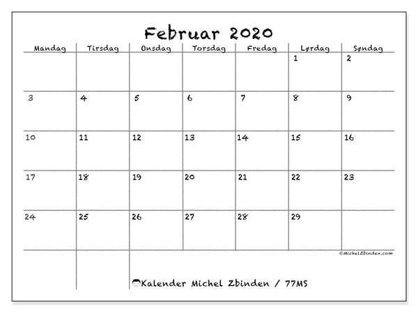 Kalender februar 2020, 77MS. Kalender som skal skrives ut gratis.