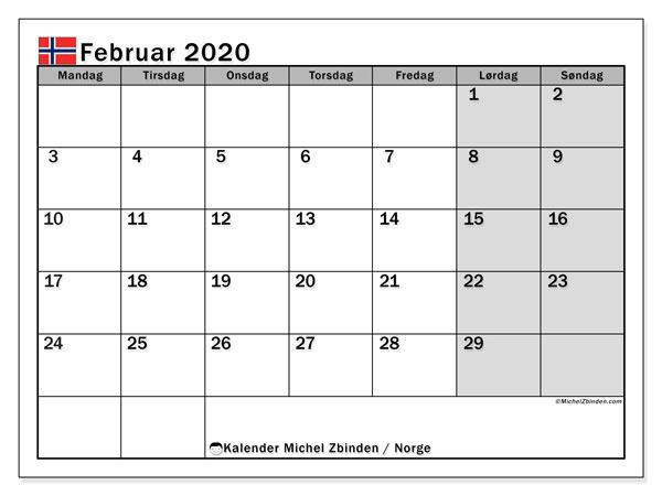 Kalender februar 2020, med høytiden til Norge. Kalender Ferier og helligdager å trykke gratis.