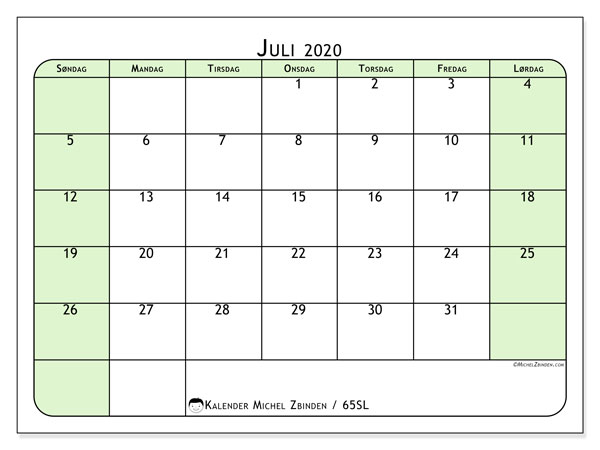Kalender juli 2020, 65SL. Månedskalender som skal skrives ut gratis..
