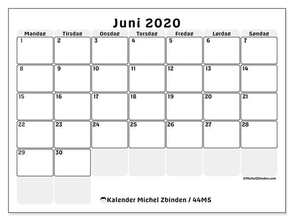 Kalender juni 2020, 44MS. Gratis kalender å trykke.