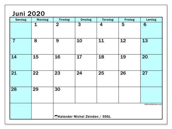 Kalender juni 2020, 59SL. Kalender for måneden å skrive ut gratis.