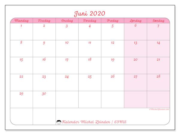 Kalender juni 2020, 63MS. Månedskalender som skal skrives ut gratis..