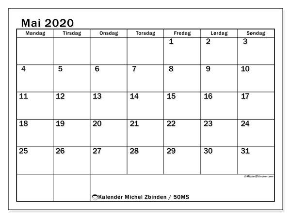 Kalender mai 2020, 50MS. Gratis kalender å trykke.