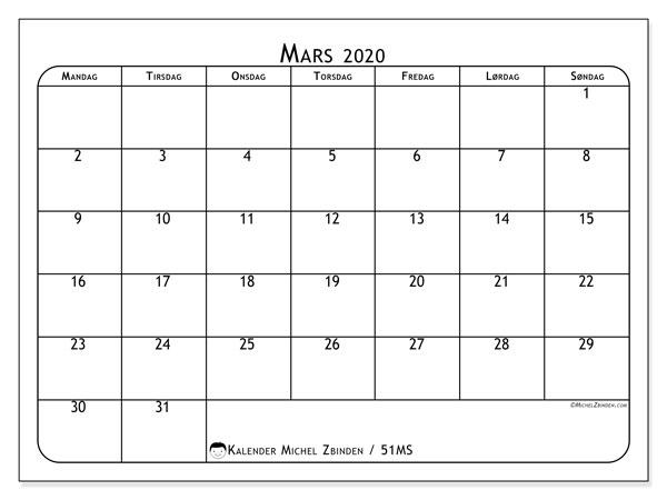 Kalender mars 2020, 51MS. Gratis utskrivbar kalender.