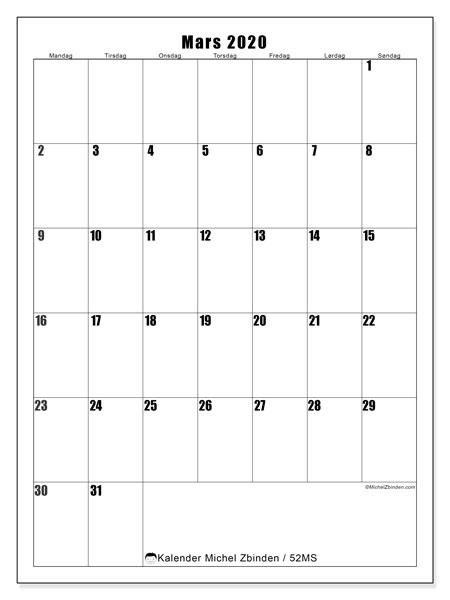 Kalender mars 2020, 52MS. Gratis utskrivbar planlegger.