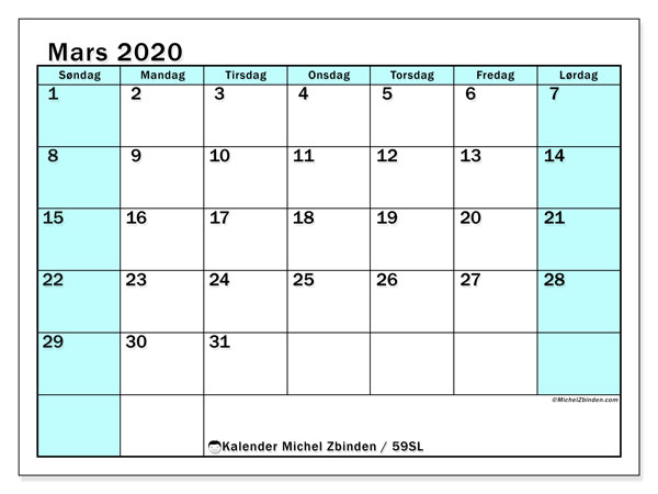 Kalender mars 2020, 59SL. Gratis tidsplan å trykke.
