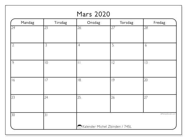 Kalender mars 2020, 74SL. Kalender for måneden å skrive ut gratis.